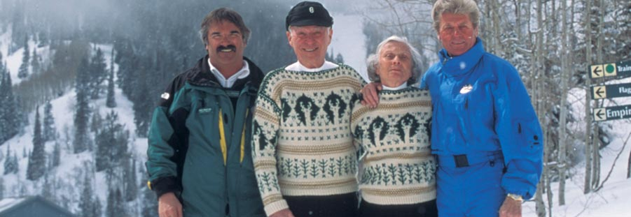 Image of Bob Wheaton, Edgar and Polly Stern and Stein Eriksen at Deer Valley