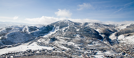 An aerial shot of Deer Valley Resort