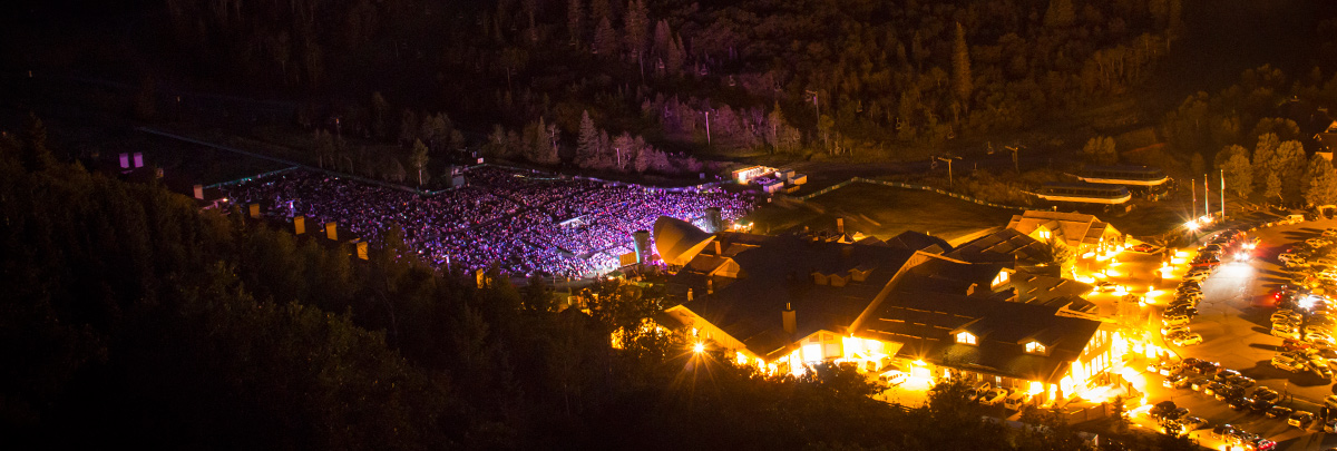 Aerial View of the Snow Park Amphitheater during an evening concert