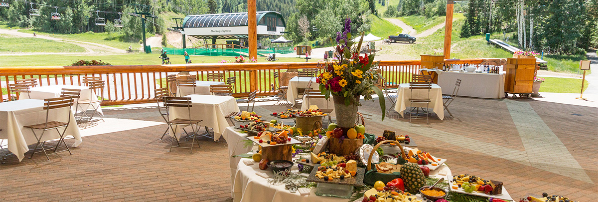 Banquet set up on the covered deck of Silver Lake Lodge