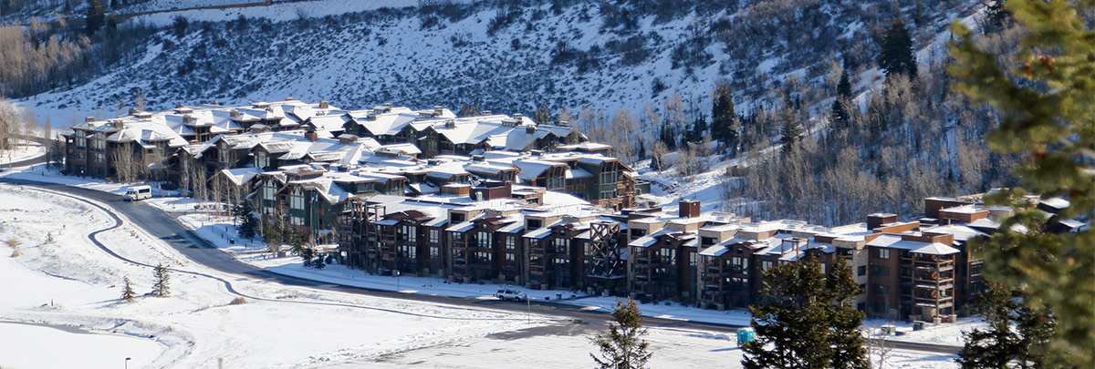 A winter view of Silver Baron Lodge and Lodges at Deer Valley