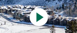 Views of Lodges at Deer Valley and Silver Baron Lodge with a play button on the image to indicate video