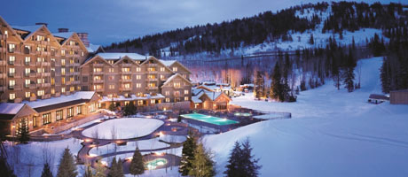Exterior winter view of Montage Deer Valley at dusk