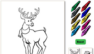 Image of Bucky the Deer and crayons to color him