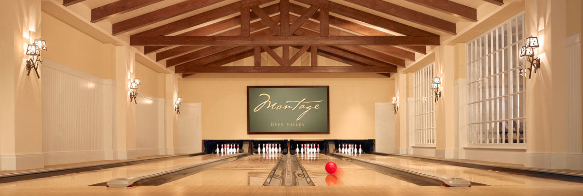 Three bowling lanes at Montage Deer Valley's Daly Pub and Rec