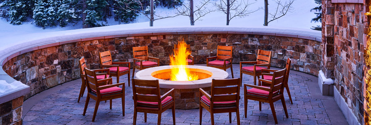 Outdoor fireplace at St. Regis Deer Valley in the winter