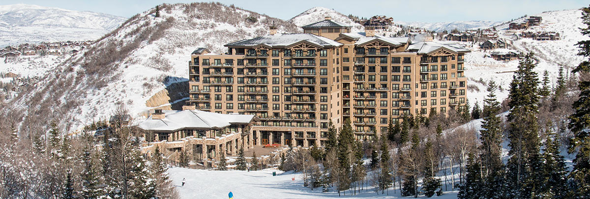 The St. Regis funicular with views of Deer Valley and the Wasatch Mountains