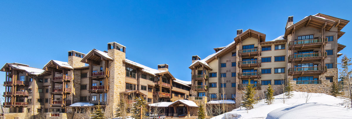 Exterior winter view of Arrowleaf condominiums