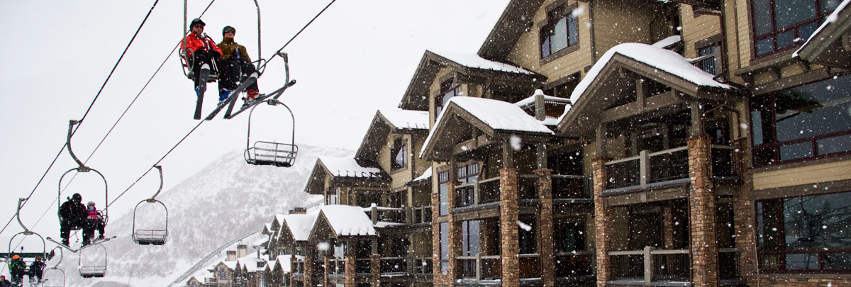 Exterior winter view of Black Diamond Lodge and ski lift