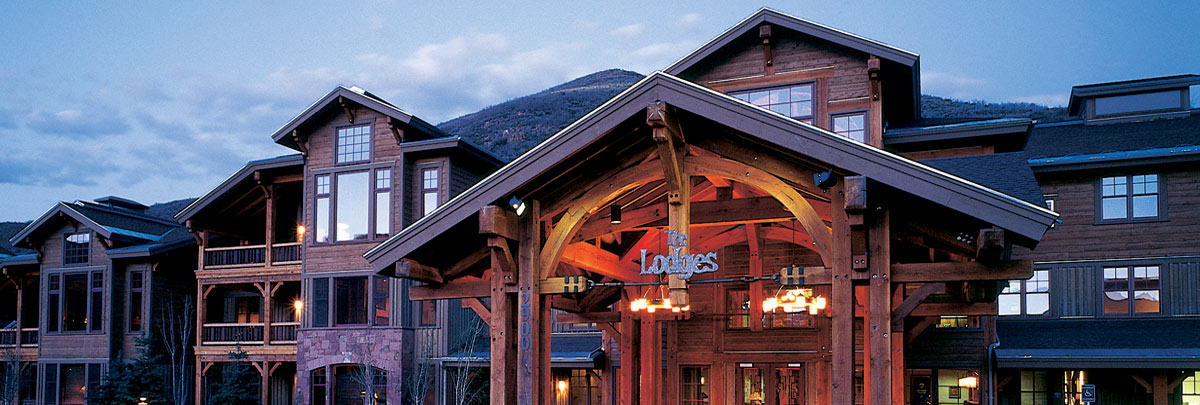 Exterior summer view of Lodges at Deer Valley at dusk