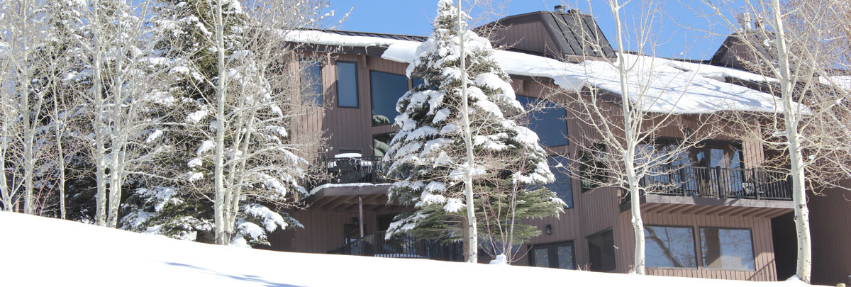 Exterior winter view of snowy Pinnacle condominiums
