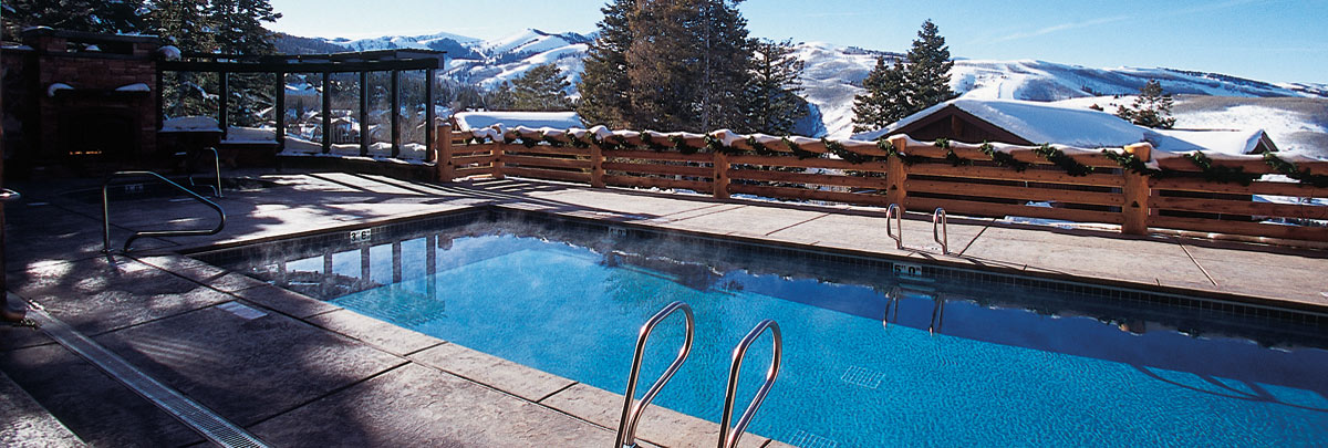 Exterior winter view of outdoor swimming pool of Stag Lodge