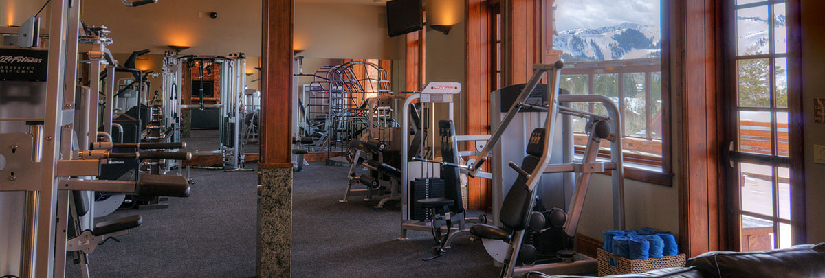 Interior view of fitness center in Stag Lodge