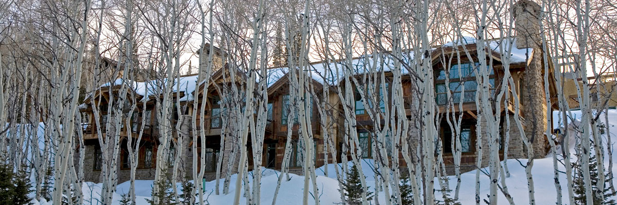 Exterior winter view of Larkspur and aspen trees during sunset