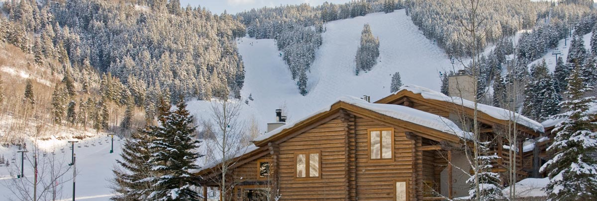 Exterior winter view of Trail's End Lodge and Deer Valley ski runs