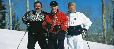 Bob Wheaton, Edgar Stern and Stein Erkisen all standing and smiling on the slopes