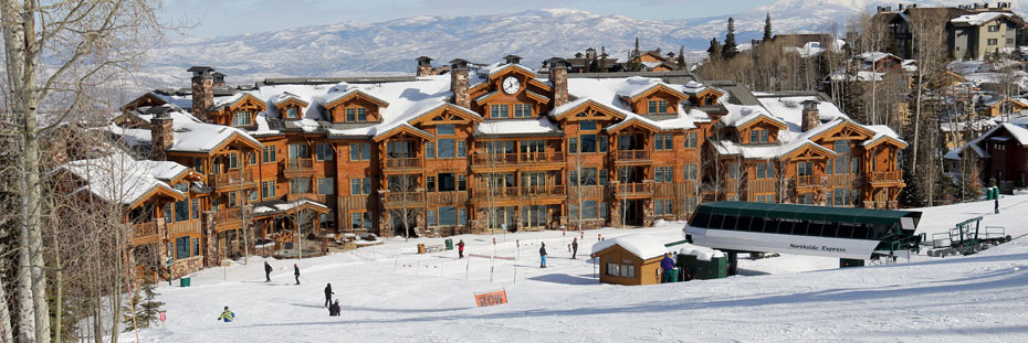 Exterior view of the Grand Lodge and Northside Express chairlift