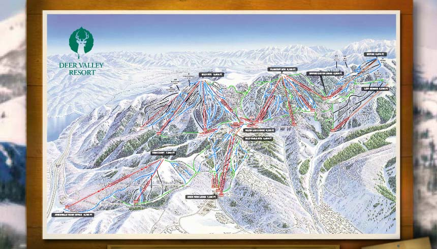 Framed Deer Valley Trail Map with winter views in the background
