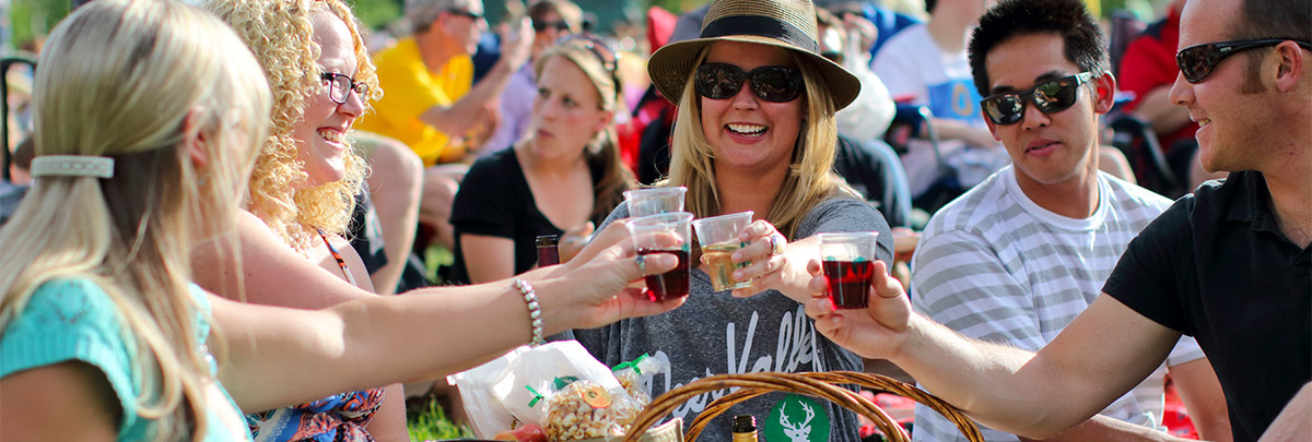 A group of five people smiling and cheersing wine glasses at a concert