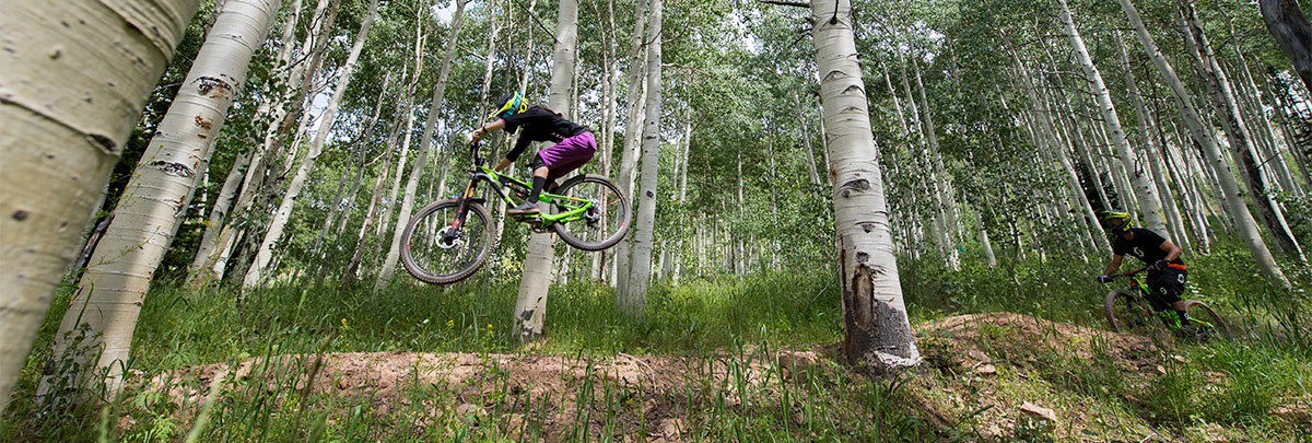 two mountain bikers mountain biking through aspens, one is jumping while the other is about to go over a jump