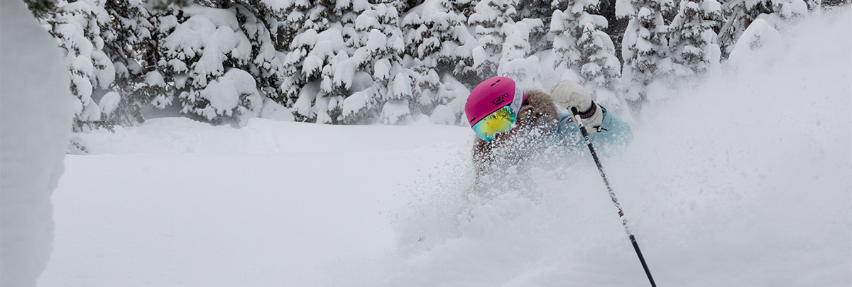 Jillian Vogtli skiing in powder