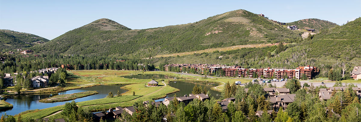 An aerial view of the Deer Valley ponds, Lodges at Deer Valley and Silver Baron Lodge