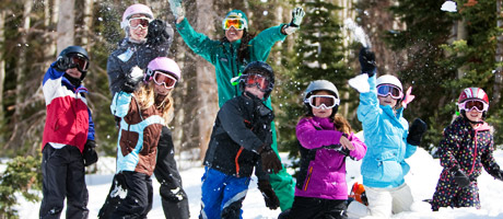 A group of children with a ski instructor in Adventure Club