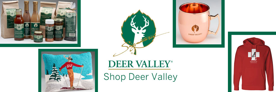 Collage of images including a decorative pillow, red Avi dog hoody, moscow mule mug and the Deer Valley logo